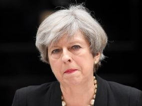 FILE PHOTO: Britain's Prime Minister Theresa May speaks outside 10 Downing Street in London, May 23, 2017. REUTERS/Toby Melville